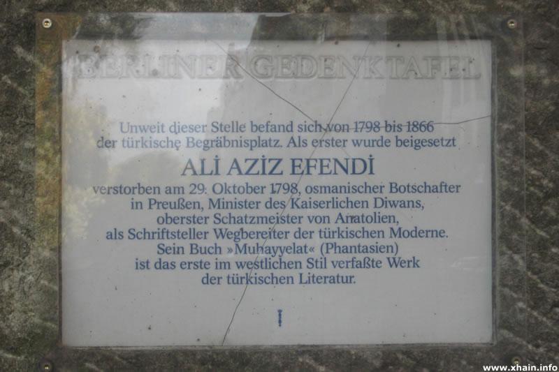 Gedenktafel für Ali Aziz Efendi