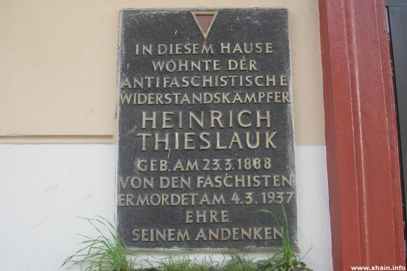Gedenktafel für Heinrich Thieslauk