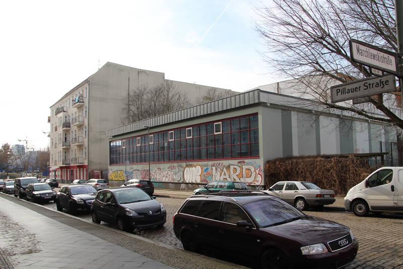 Pillauer Straße Ecke Marchlewskistraße, Turnhalle der Dathe-Oberschule