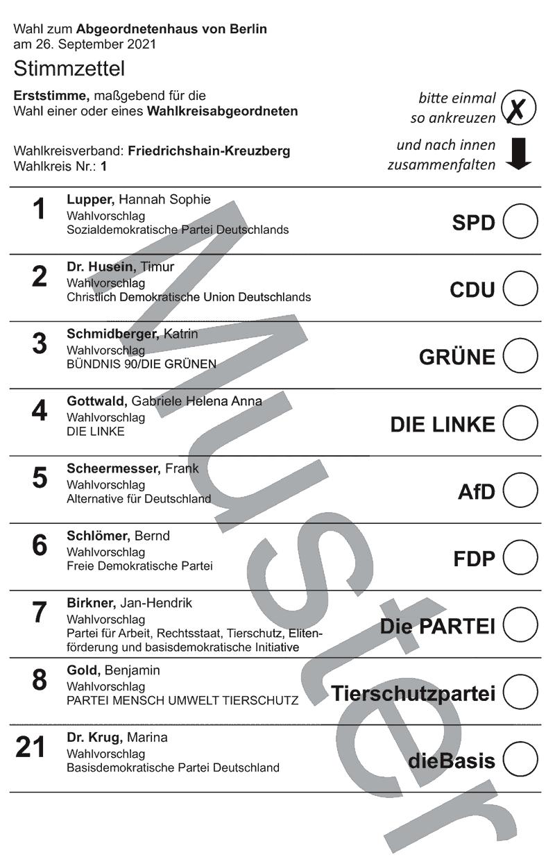 Stimmzettel Wahlkreis 1