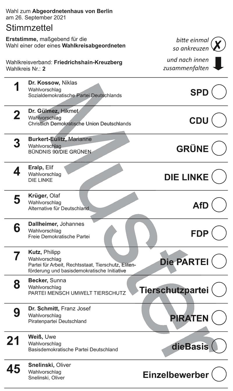Stimmzettel Wahlkreis 2