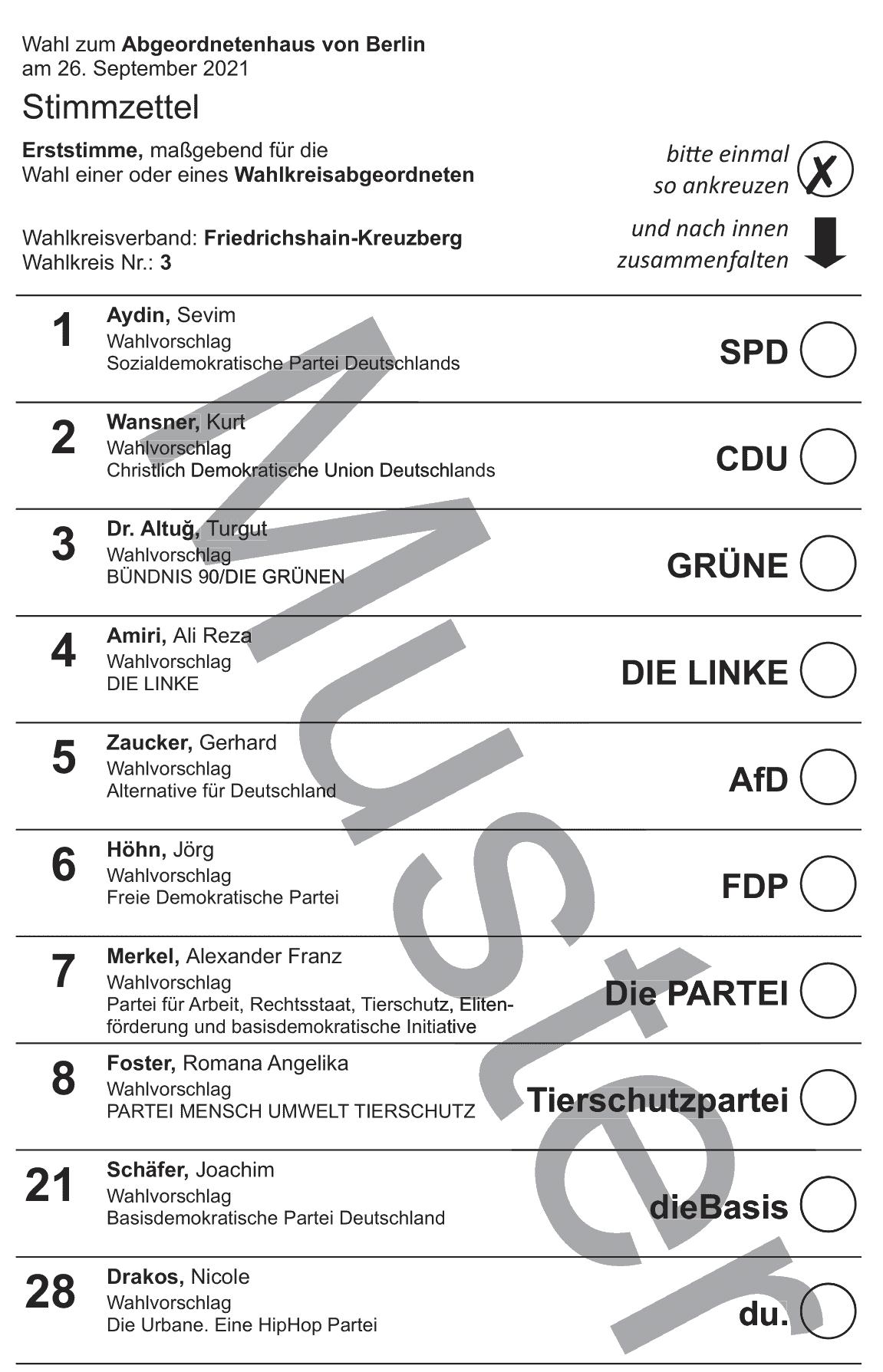 Stimmzettel Wahlkreis 3