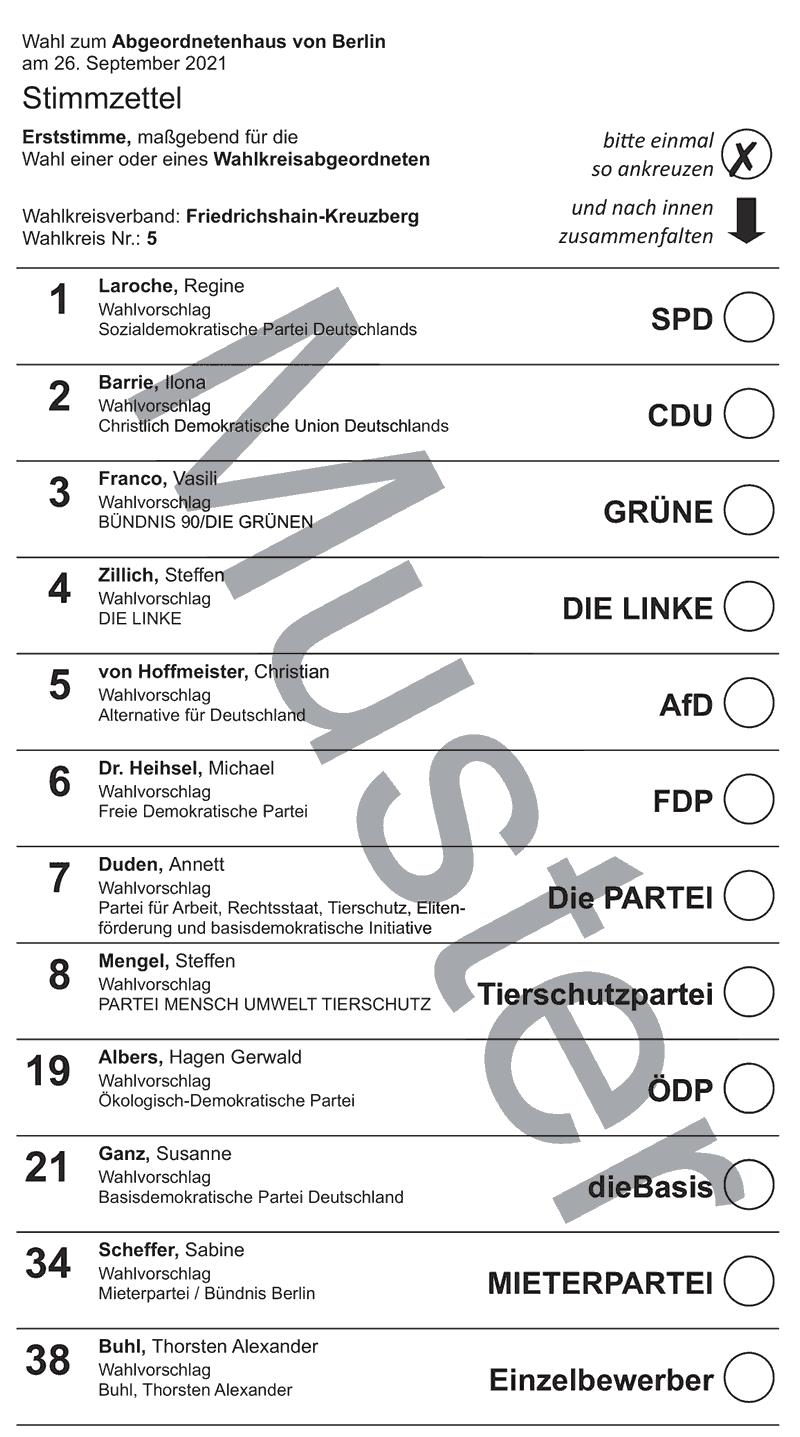 Stimmzettel Wahlkreis 5